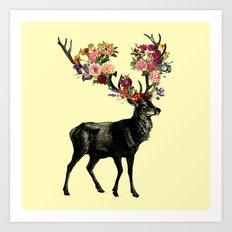 Spring Itself Deer Floral (Cream) Art Print