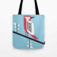 woodpecker in blue Tote Bag