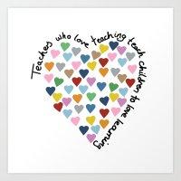Hearts Heart Teacher Art Print