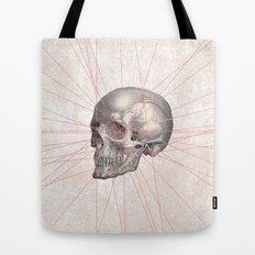 Abstract Gray Vintage Skull Modern Pink Stripes Tote Bag