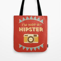 I'm not a hipster camera red Tote Bag
