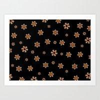 Snowflakes (Orange On Bl… Art Print