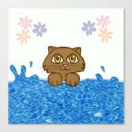 Cute Cat In Bath Tub Canvas Print