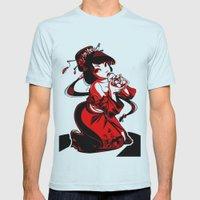 Geisha Design Mens Fitted Tee Light Blue SMALL
