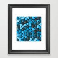 Turquoise And Black Mosa… Framed Art Print
