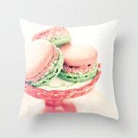 Peppermint Macarons Throw Pillow