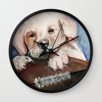 Puppy Touchdown Wall Clock