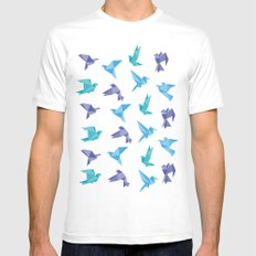 ORIGAMI BIRDS SMALL Mens Fitted Tee White