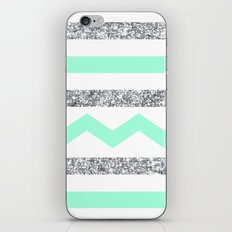 mint and glitter stripes iPhone & iPod Skin