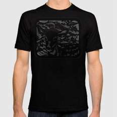Sleeping Fawn Papercut SMALL Mens Fitted Tee Black