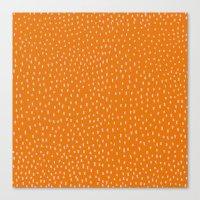 Dots Pink On Orange Canvas Print
