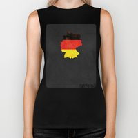 Germany Minimalist Vintage Map with Flag Biker Tank
