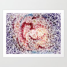 purple squiggle abstract Art Print