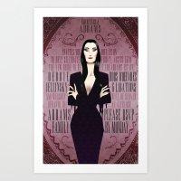 Morticia Addams Bridal Shower Invite Art Print