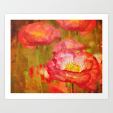Red and White Poppy Flowers Abstract Botanical Garden Floral Landscape Art Print