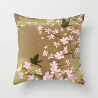 Cute Birds and Cherry Blossoms Throw Pillow