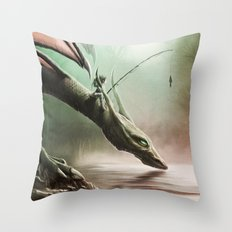 Fishing On The Drinking Dragon Throw Pillow