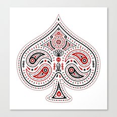 83 Drops - Spades (Red & Black) Canvas Print