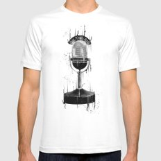 DARK MICROPHONE Mens Fitted Tee White SMALL