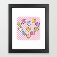 Conversation Hearts Framed Art Print