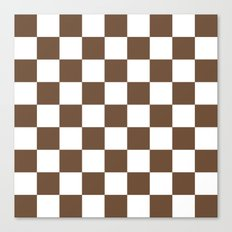 Checker (Coffee/White) Canvas Print