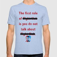 The First Rule Of Fight … Mens Fitted Tee Athletic Blue SMALL
