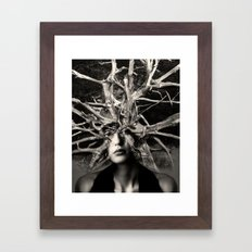 Black and White Tree Woman Framed Art Print
