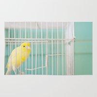 Yellow Bird Against Turq… Rug