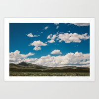 Puffy White Clouds with Blue Sky and Green Meadow Hills Art Print