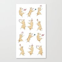 Queen's Corgi Dance Canvas Print
