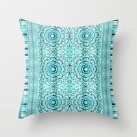 Minty Mandalas Throw Pillow