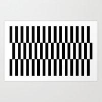 Black & White Triple Stripe Art Print