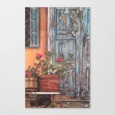 Blue Door with Window Canvas Print