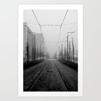 Foggy tramtracks Art Print