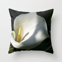 White Calla Lilies Over Black Background In Soft Focus Throw Pillow