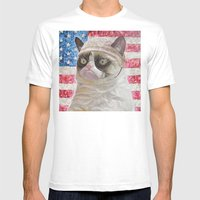 American Grumpy  Mens Fitted Tee White SMALL