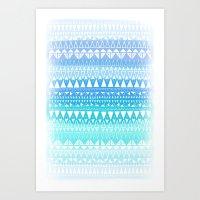Triangle Gradient Aqua M… Art Print