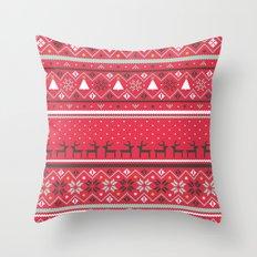 Festive FairIsle - Red Throw Pillow