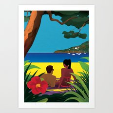 A Shaded Beach Art Print
