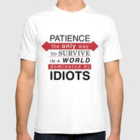 Patience Typo Mens Fitted Tee White SMALL