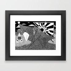 Bird Crossing over the full moon Framed Art Print