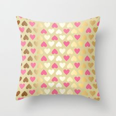 Faux Gold & Pink Hearts  Throw Pillow