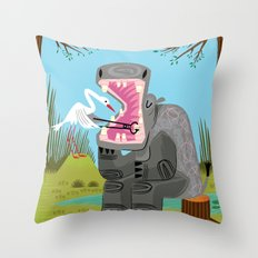 Hippopotamouth Throw Pillow