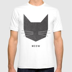 MEOW SMALL Mens Fitted Tee White