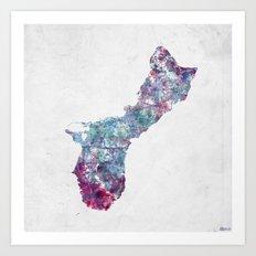 Guam map Art Print