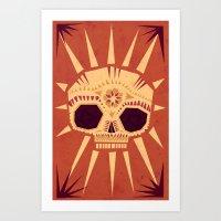 skull Art Prints featuring sugar skull by Yetiland