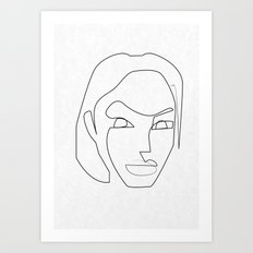 One line Lara Croft 1996 Art Print