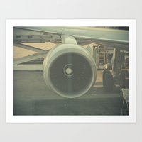 Vintage Airplane Engine  Art Print