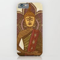 iPhone Cases featuring Sitting Buddha by Valentina Harper