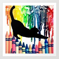 The cat got into the crayons Art Print